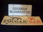MERCURY COUGAR LICENSE PLATES